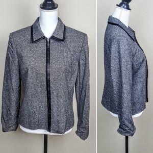 ANN TAYLOR Blazer Jacket Gray Wool Silk Career, 10